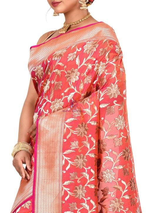 Pure Banarasi Katan Silk Handloom Saree in Fuchsia and Orange Dual Tone 6