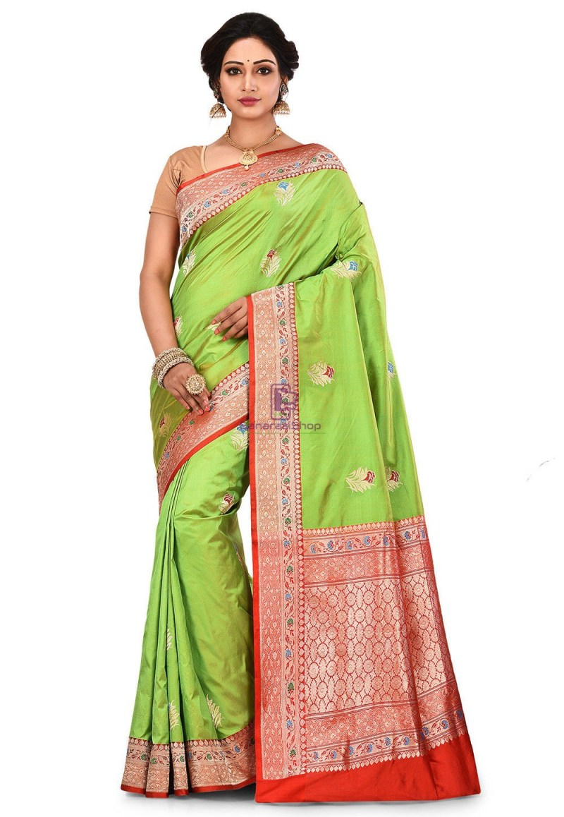 Pure Banarasi Katan Silk Handloom Saree in Light Green 1
