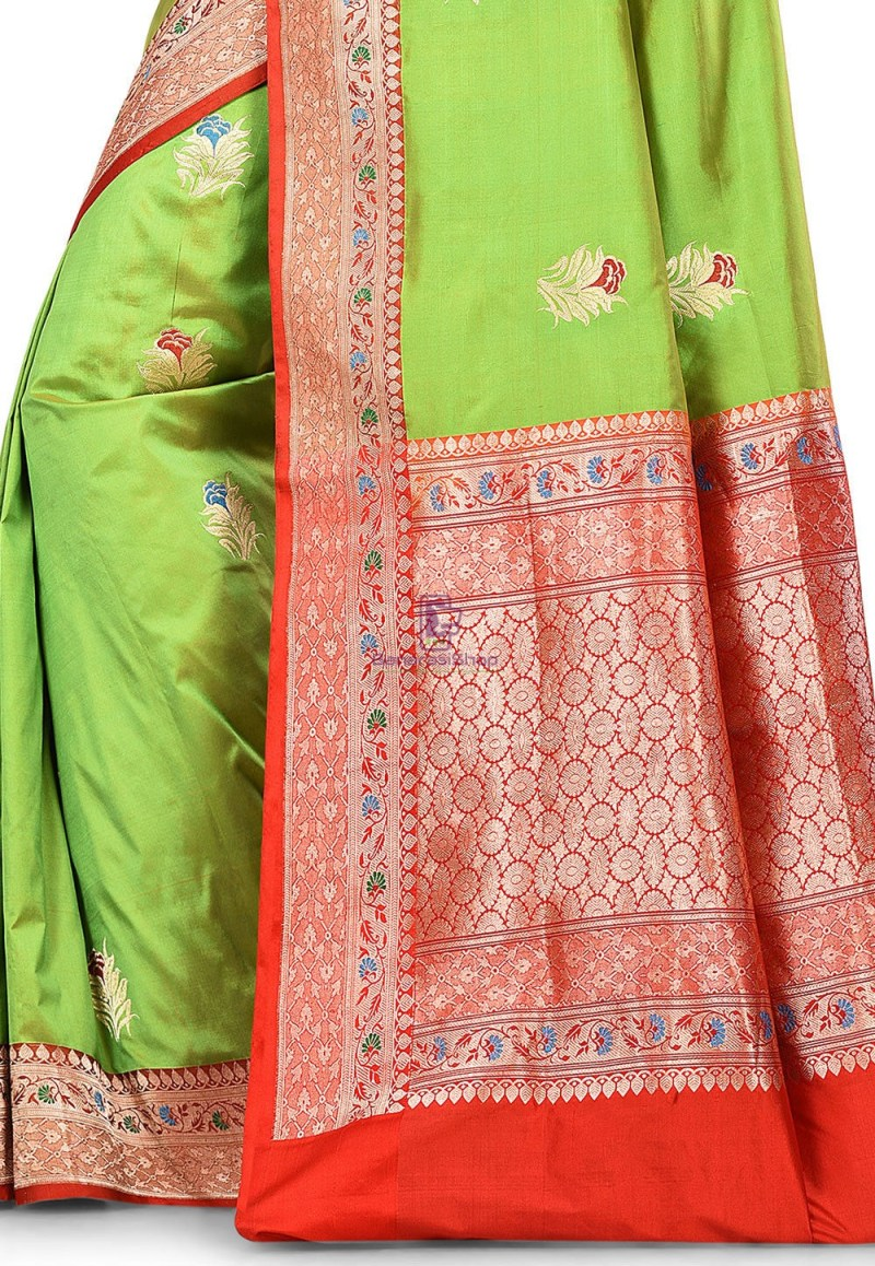 Pure Banarasi Katan Silk Handloom Saree in Light Green 2