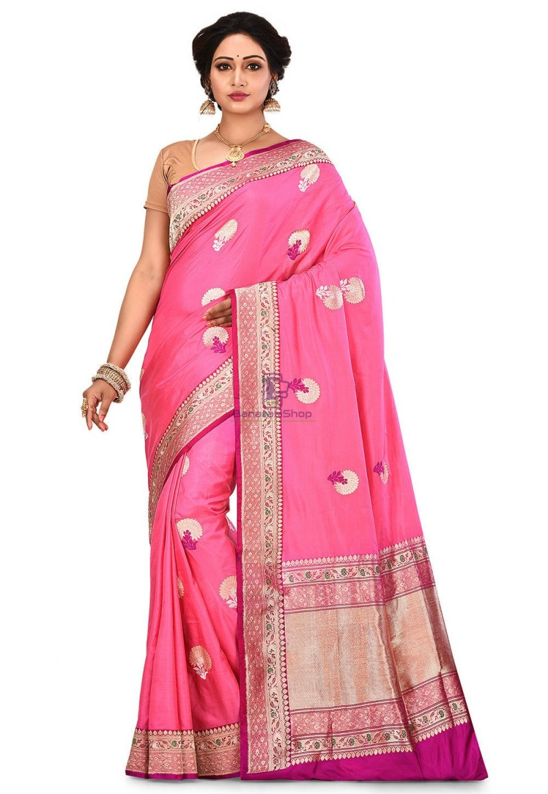 Pure Banarasi Katan Silk Handloom Saree in Pink 1