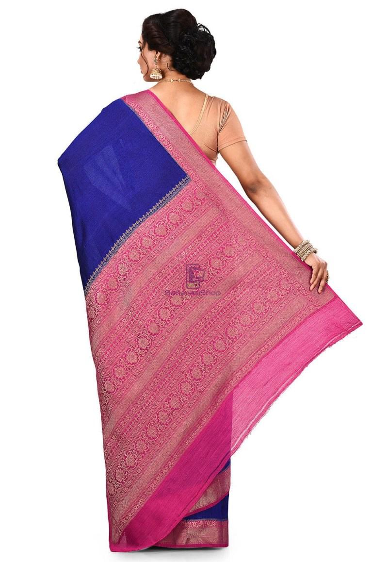 Pure Muga Silk Banarasi Saree in Royal Blue 5