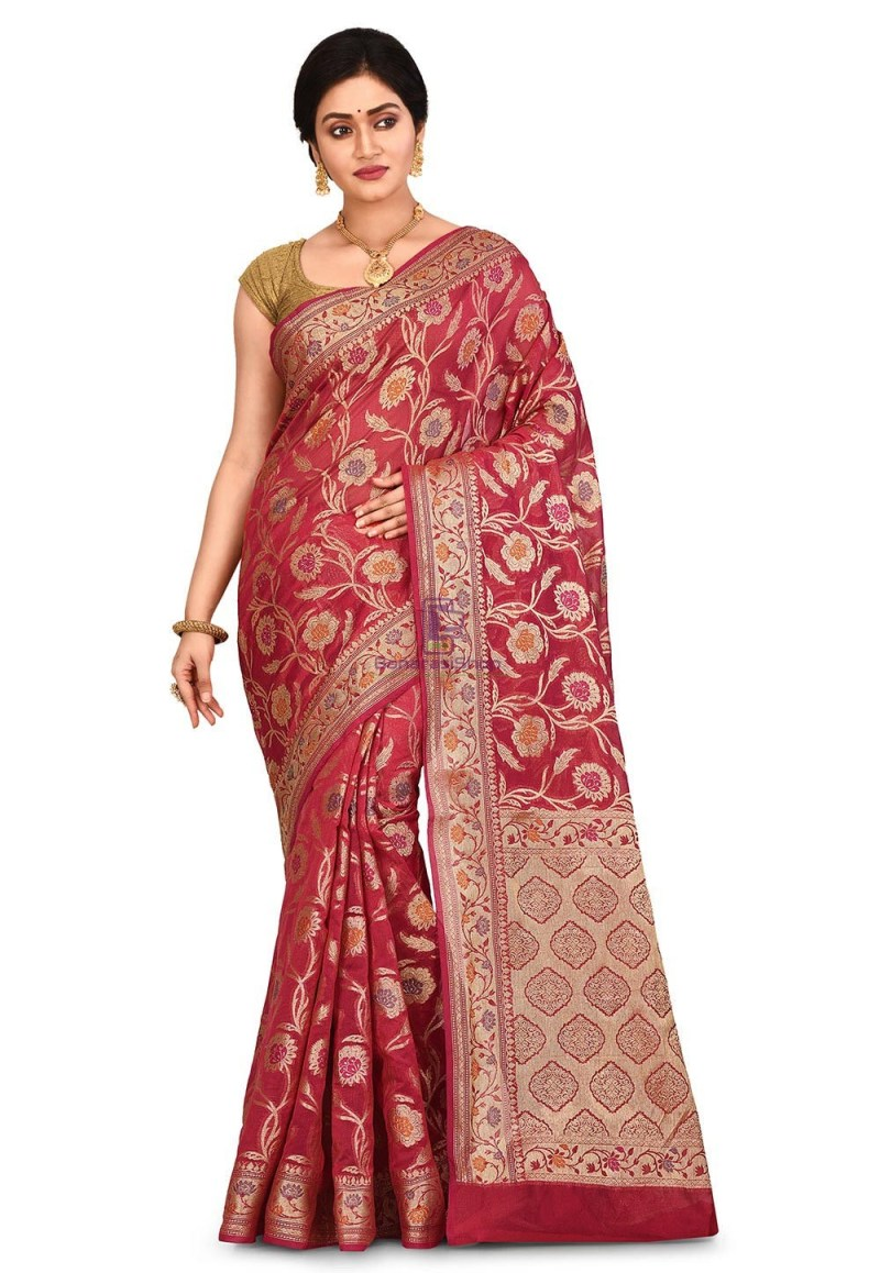 Woven Banarasi Cotton Silk Saree in Red 1