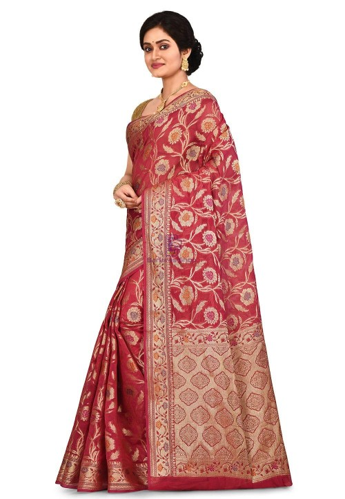 Woven Banarasi Cotton Silk Saree in Red 7