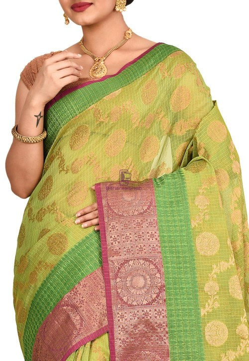 Woven Banarasi Cotton Silk Saree in Light Green 5