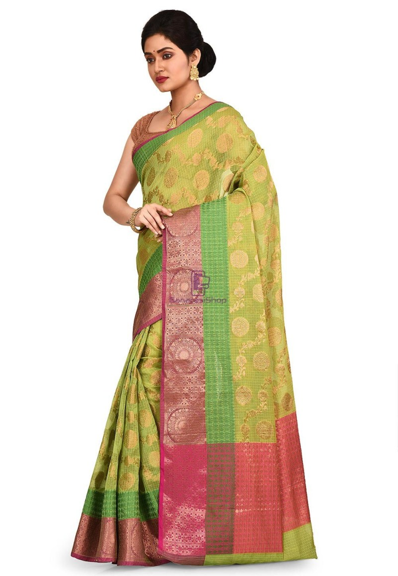 Woven Banarasi Cotton Silk Saree in Light Green 4