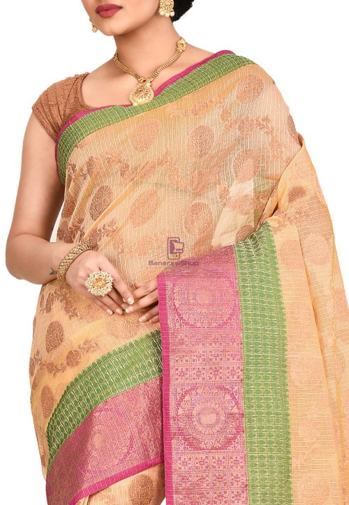 Banarasi Saree in Light Yellow 5