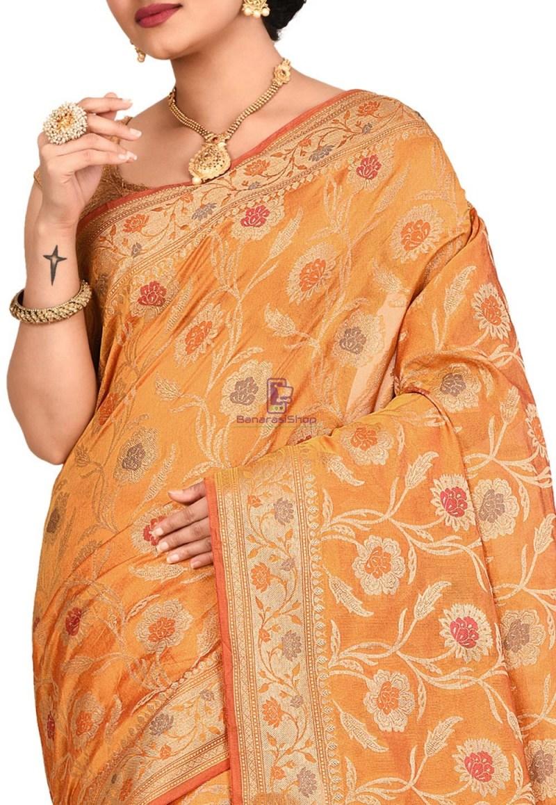 Woven Banarasi Cotton Silk Sare in Mustard 2