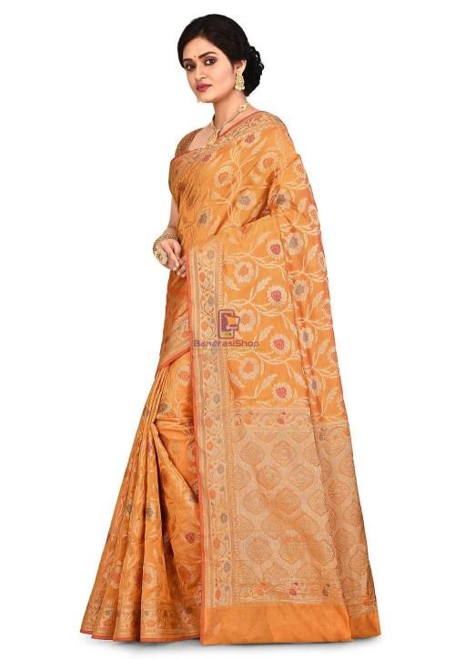 Woven Banarasi Cotton Silk Sare in Mustard 7