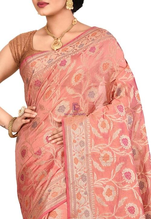 Woven Banarasi Cotton Silk Saree in Old Rose 5