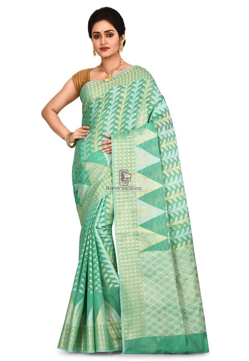 Woven Banarasi Cotton Silk Saree in Pastel Green 1