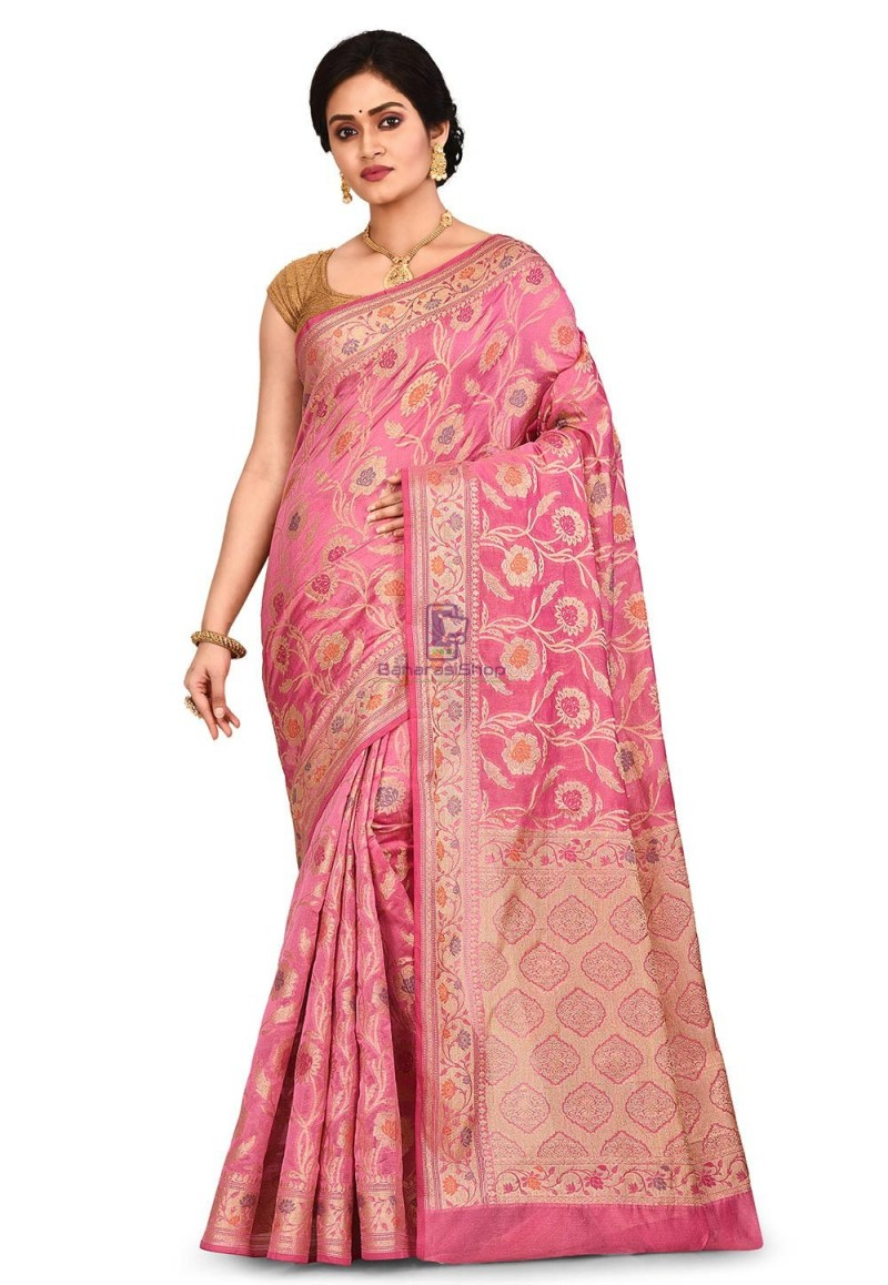 Woven Banarasi Cotton Silk Saree in Pink 1