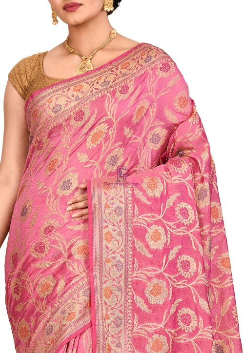 Woven Banarasi Cotton Silk Saree in Pink 5