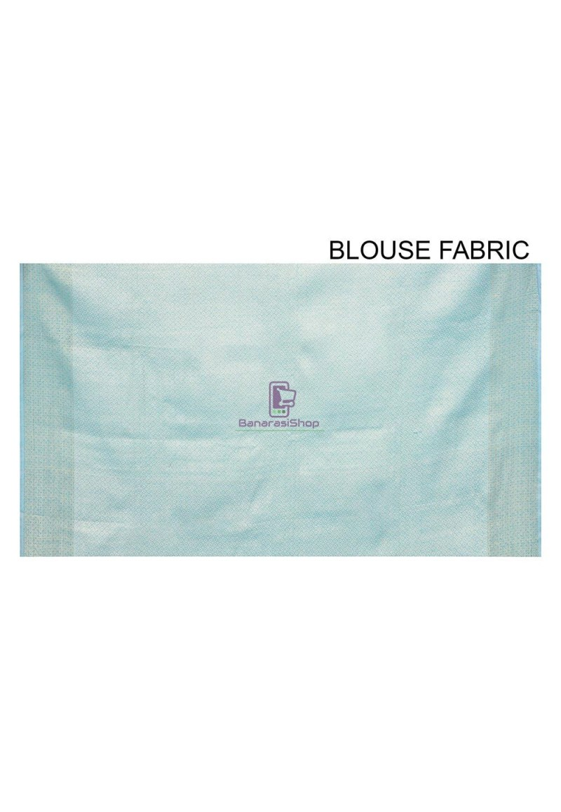 Woven Banarasi Cotton Silk Saree in Sky Blue 3