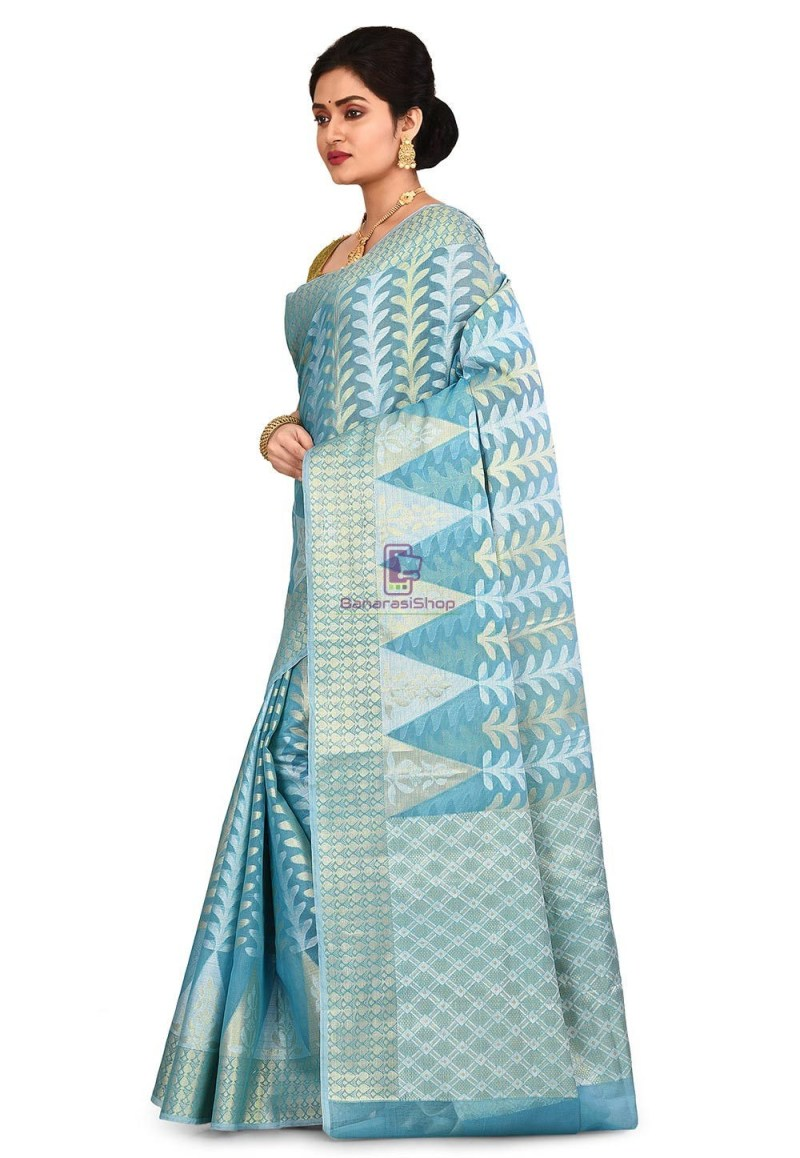 Woven Banarasi Cotton Silk Saree in Sky Blue 4