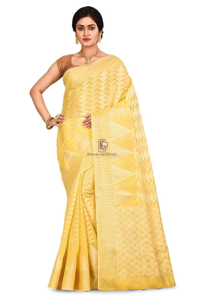Woven Banarasi Cotton Silk Saree in Yellow 1