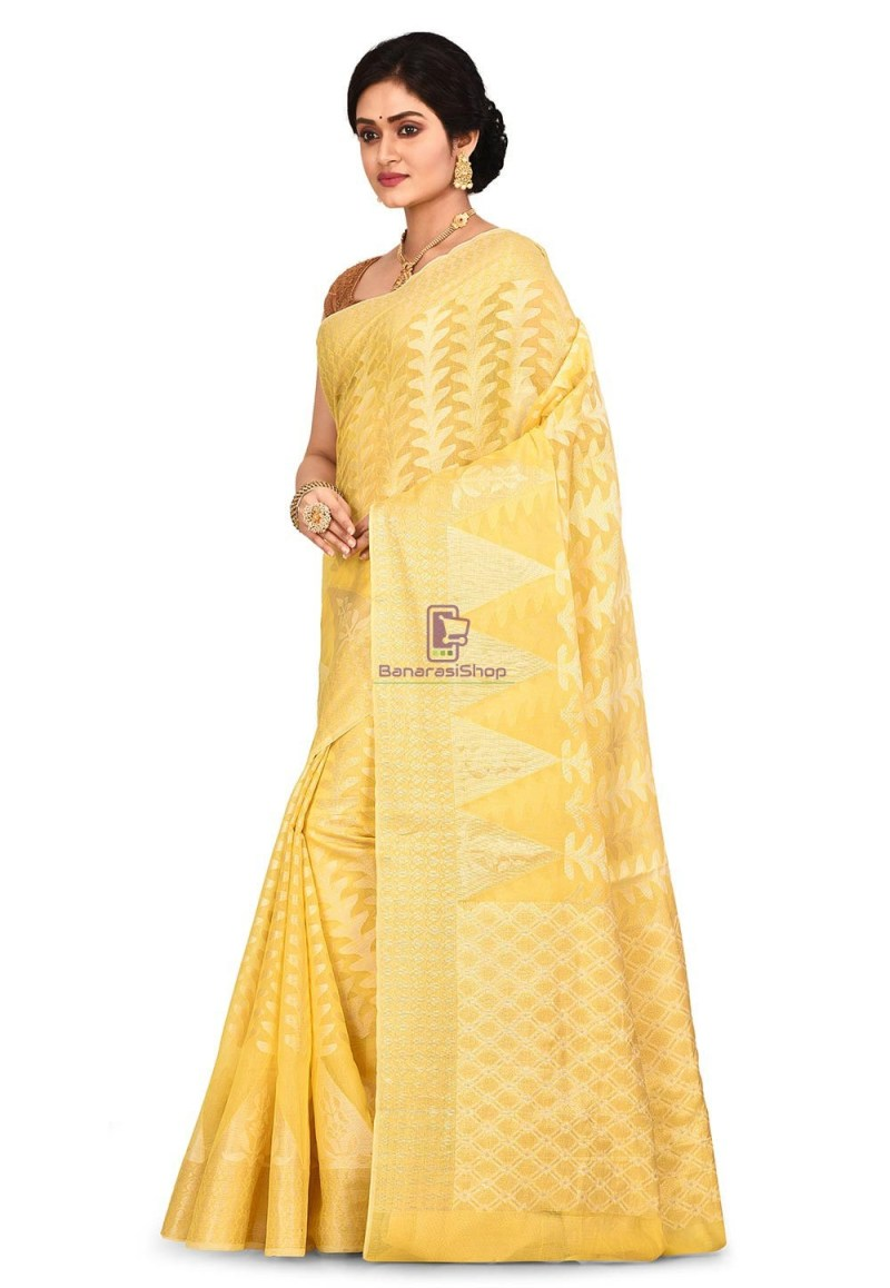 Woven Banarasi Cotton Silk Saree in Yellow 4