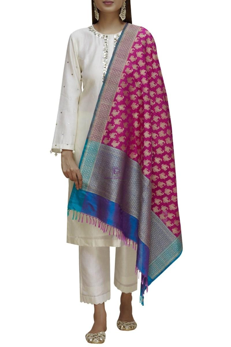Handloom Banarasi Pure Katan Silk Dupatta in Pink and Blue 3