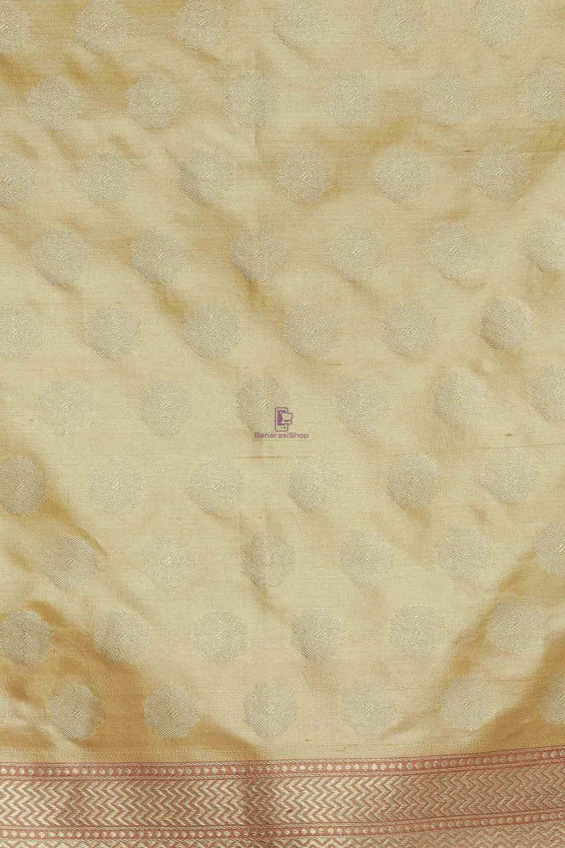 Handloom Banarasi Pure Katan Silk Dupatta in Gold and Peach 3