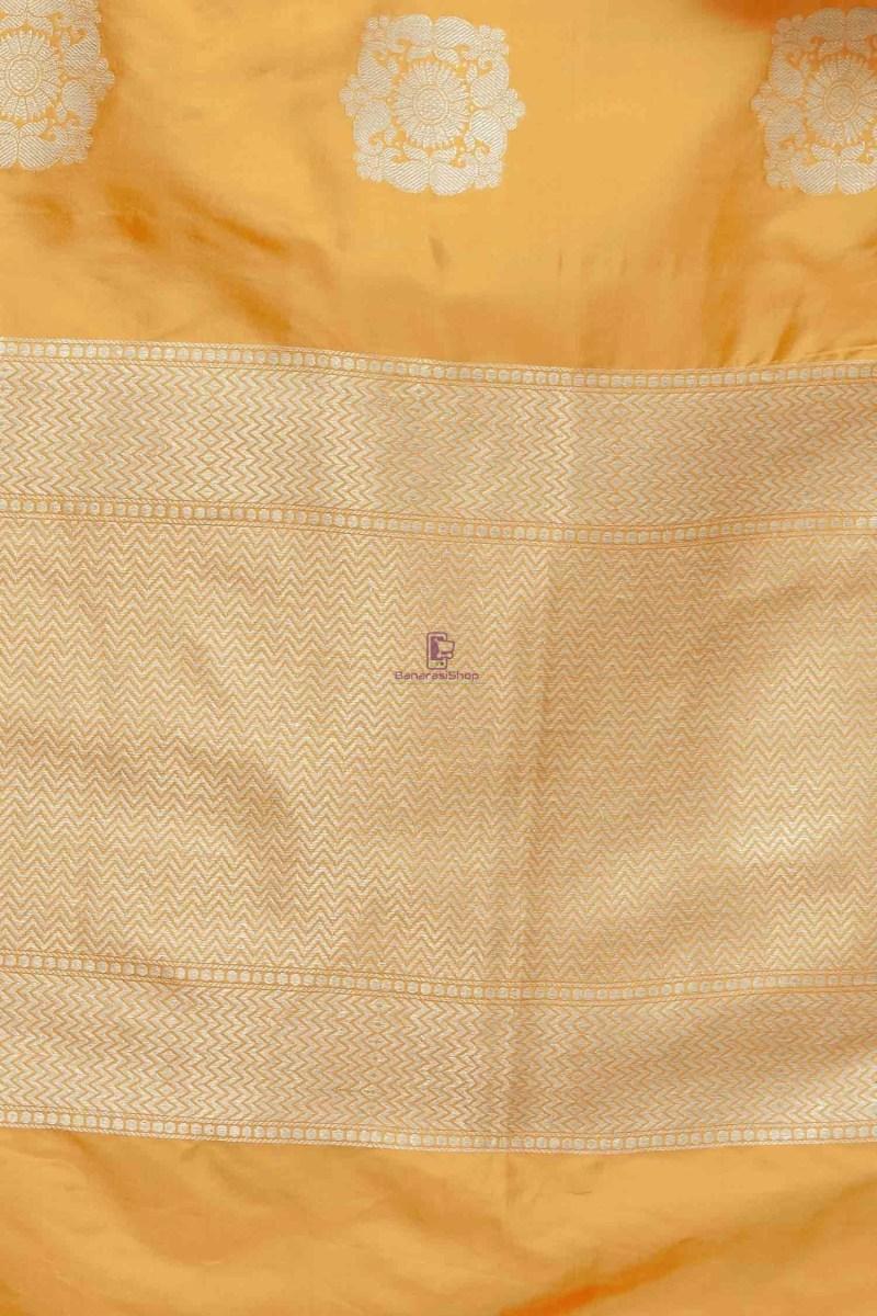 Handloom Banarasi Pure Katan Silk Dupatta in Mango Orange 3