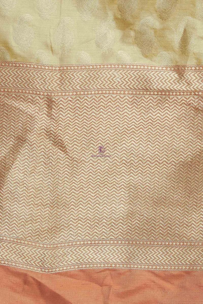 Handloom Banarasi Pure Katan Silk Dupatta in Gold 3