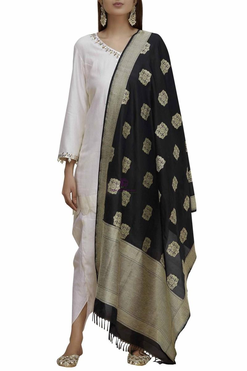 Handloom Banarasi Pure Katan Silk Dupatta in Black 2