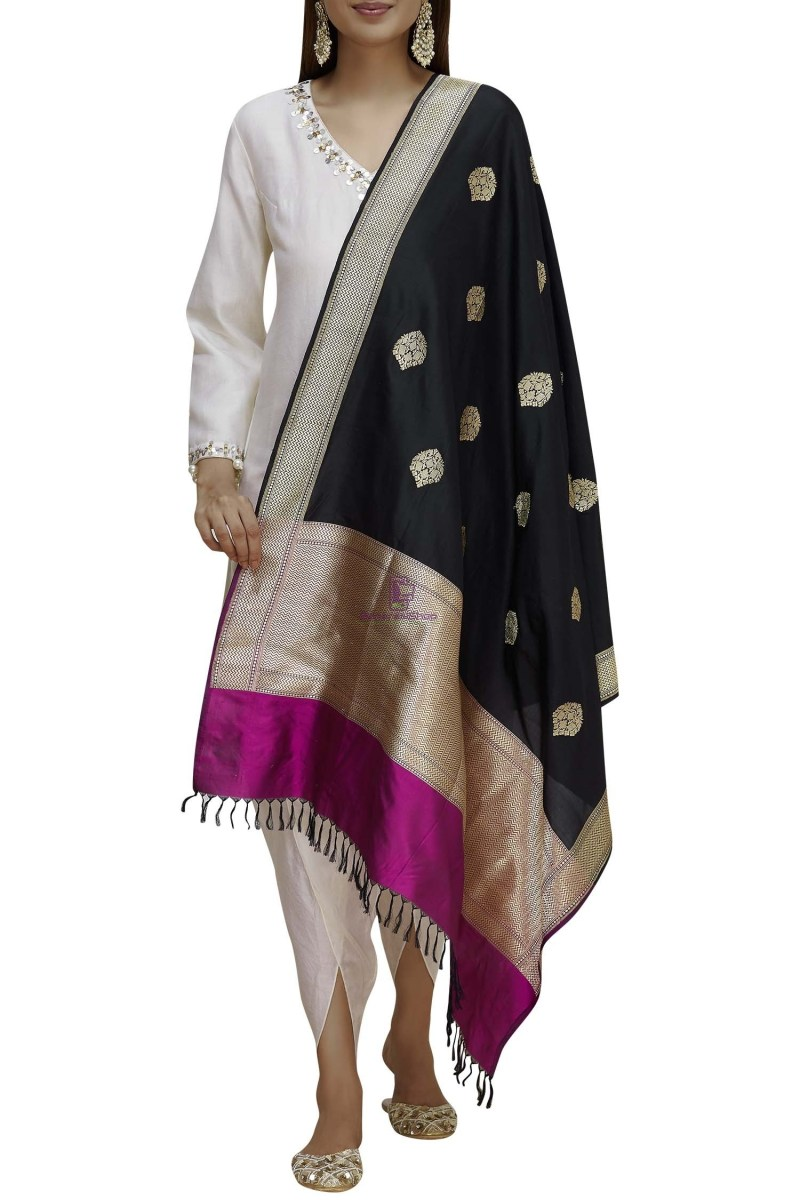 Handloom Banarasi Pure Katan Silk Dupatta in Black and Purple 1