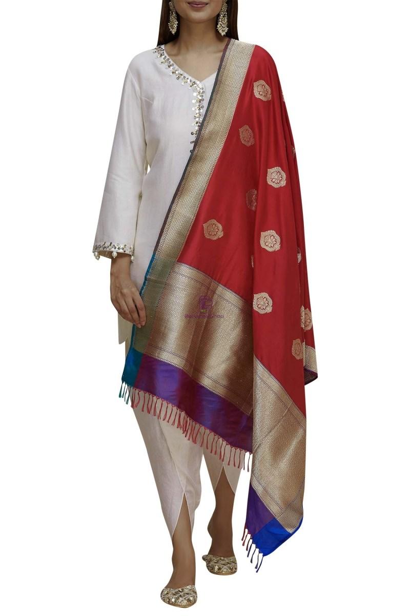 Handloom Banarasi Pure Katan Silk Dupatta in Red and Purple 1
