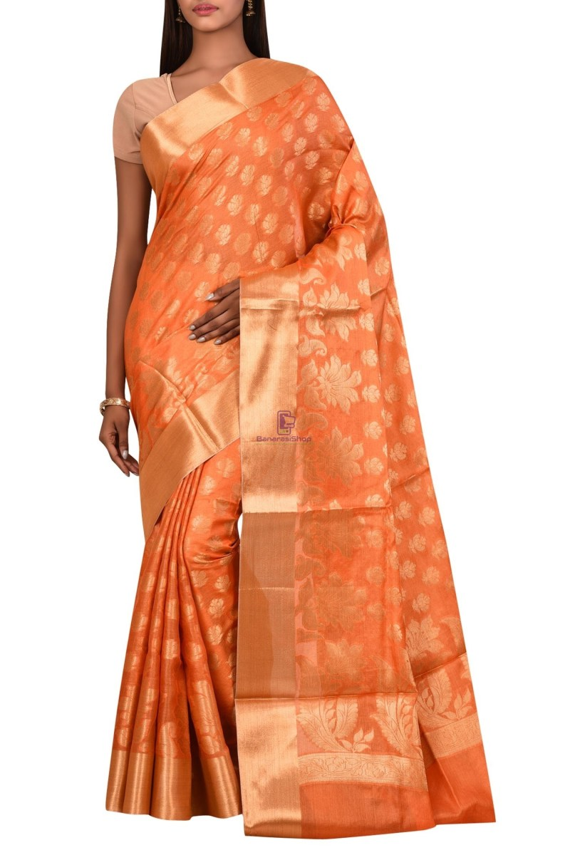 Tussar Silk Saree with Unstitched Blouse Fabric 1