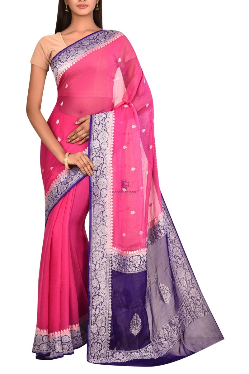 Pure Banarasi Handloom Khaddi Georgette Silk Saree with Unstitched Blouse Fabric 1