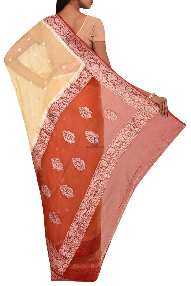 Pure Banarasi Handloom Khaddi Georgette Silk Saree with Unstitched Blouse Fabric 2
