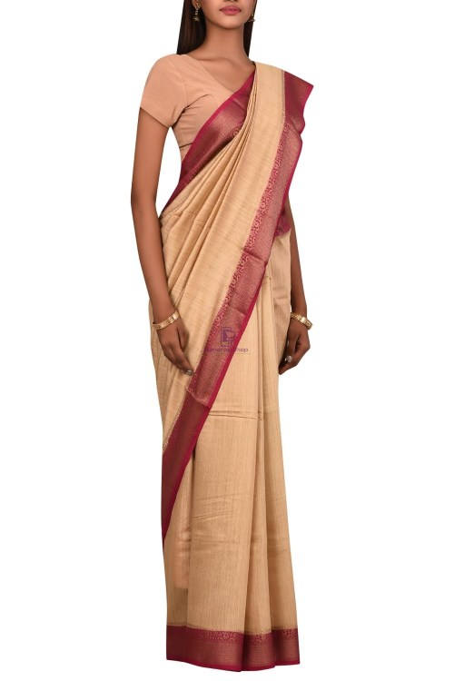 Pure Woven Banarasi Muga Silk Saree with Unstitched Blouse Fabric 6