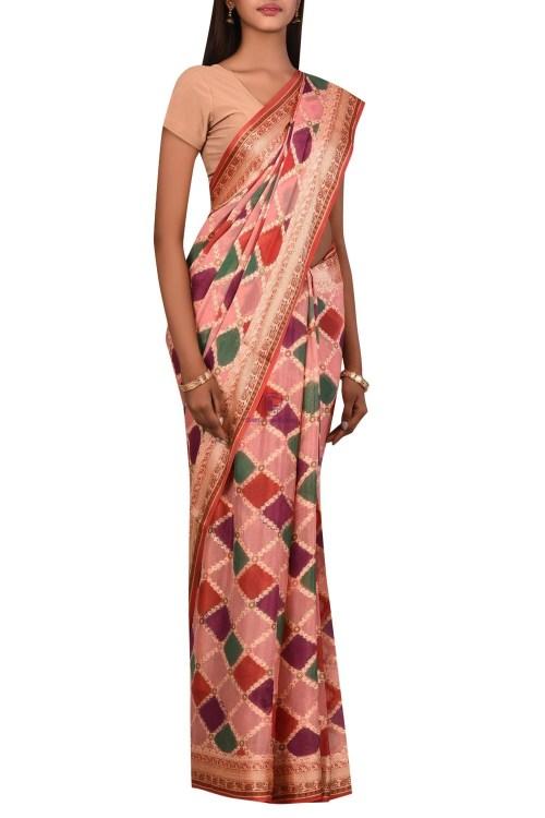Banarasi Pure Chiffon Silk Saree with Unstitched Blouse Fabric 6