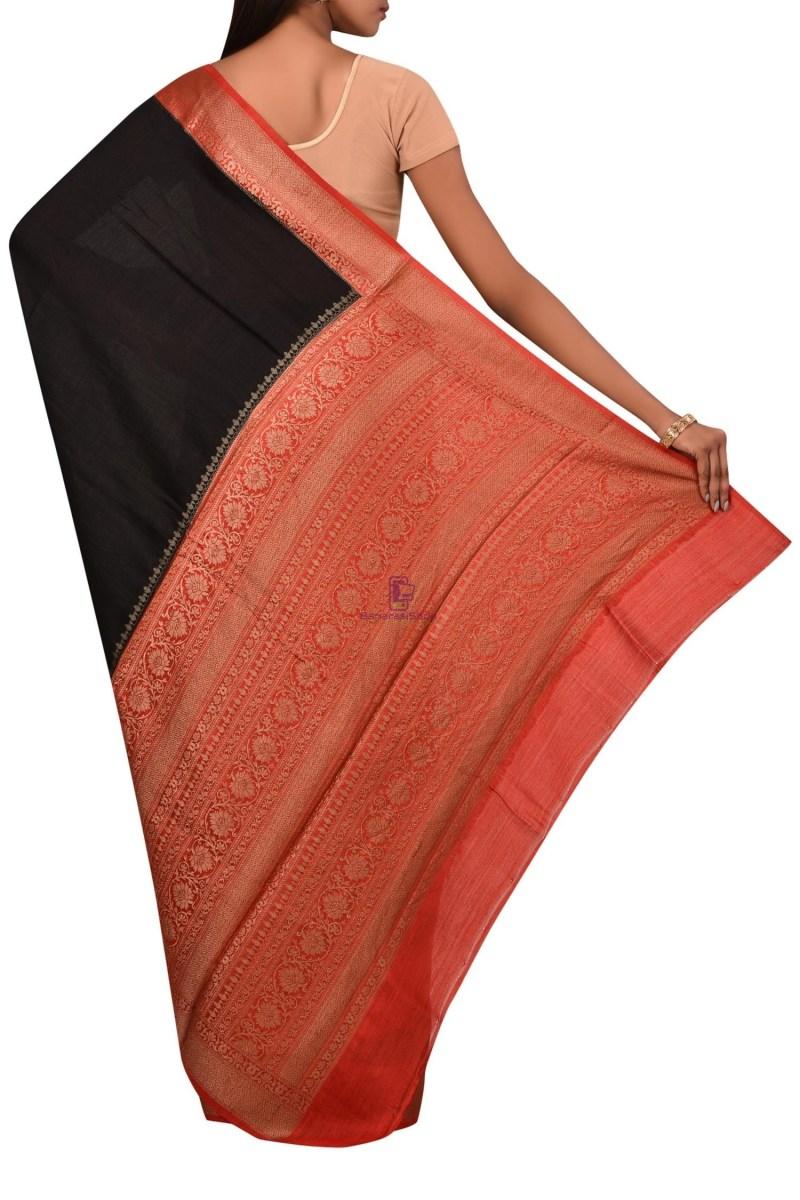 Pure Woven Banarasi Muga Silk Saree with Unstitched Blouse Fabric 2