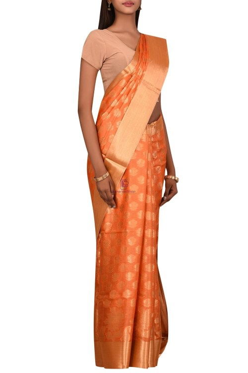 Tussar Silk Saree with Unstitched Blouse Fabric 6