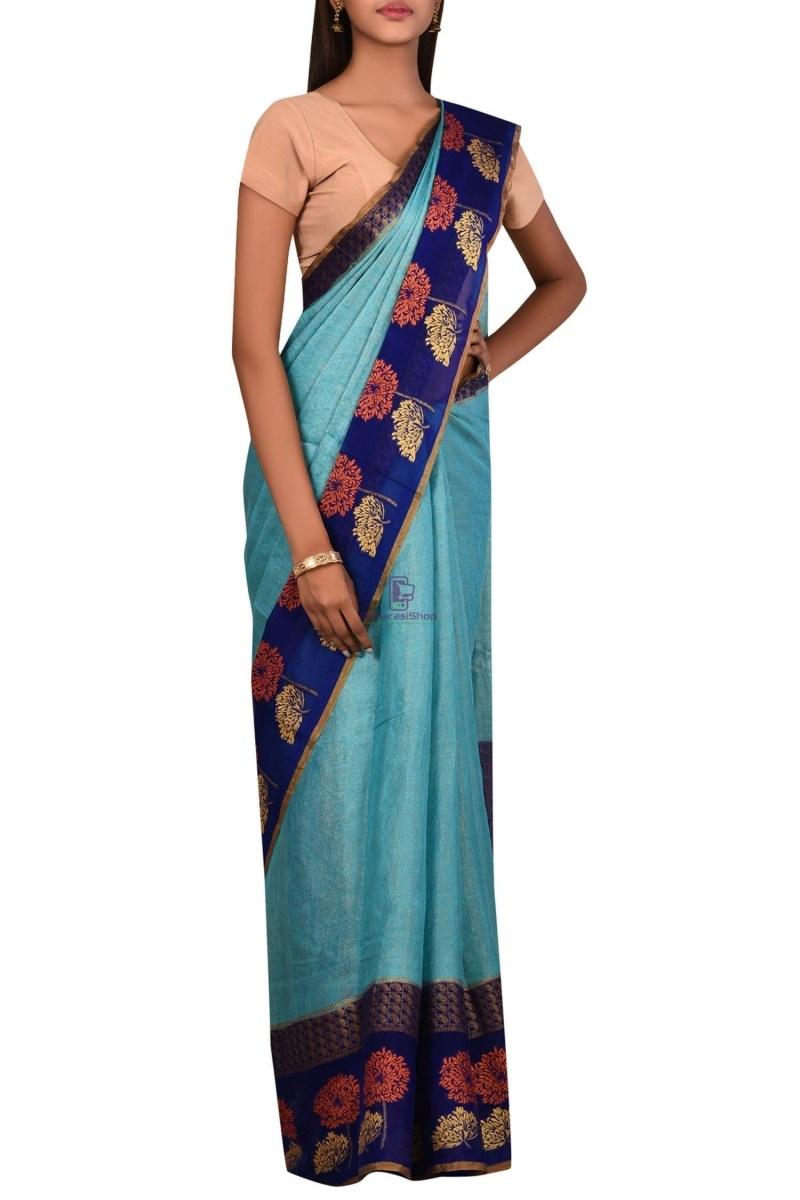 Banarasi Pure Chiffon Silk Saree with Unstitched Blouse Fabric 3