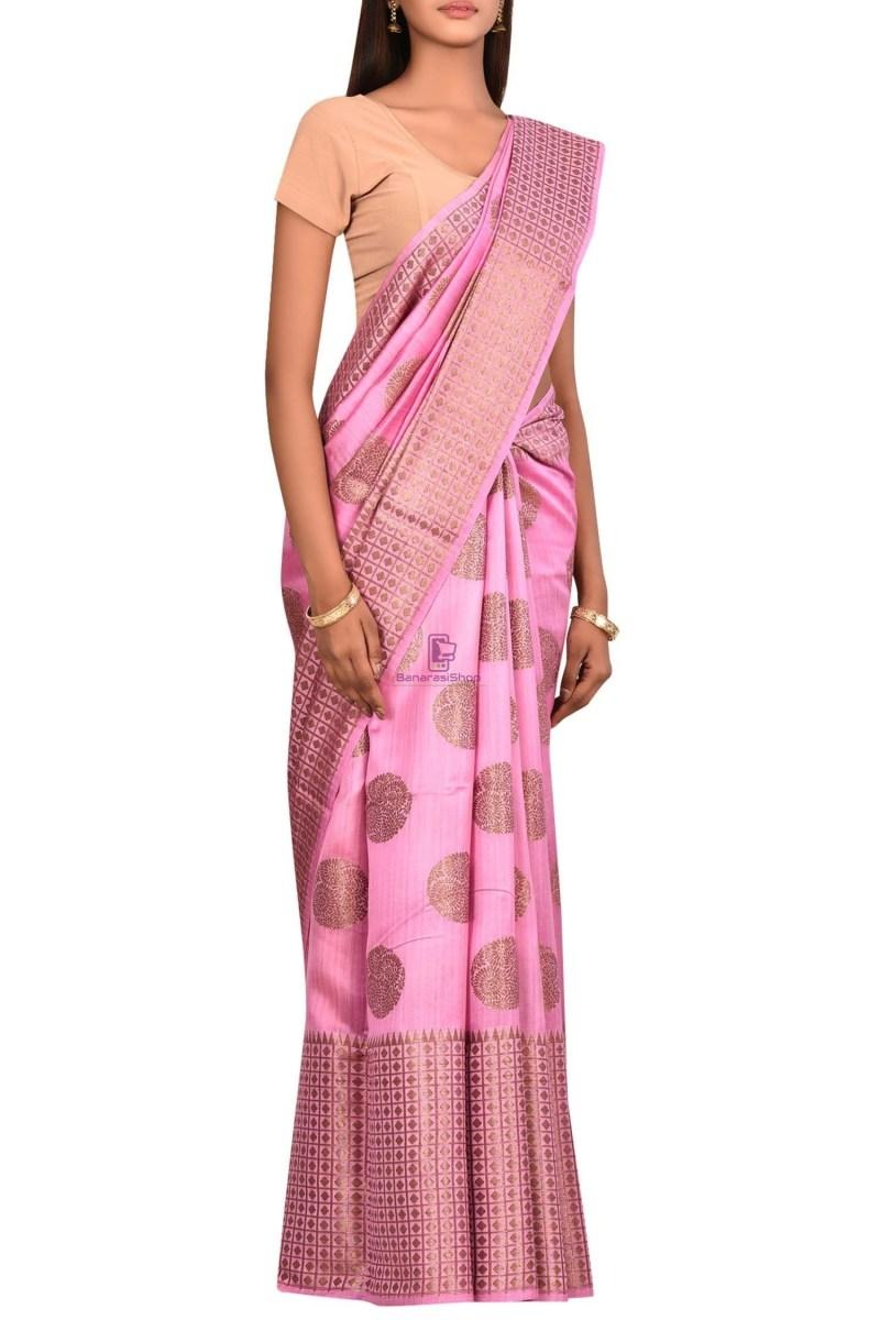 Pure Woven Banarasi Dupion Silk Saree with Unstitched Blouse Fabric 3