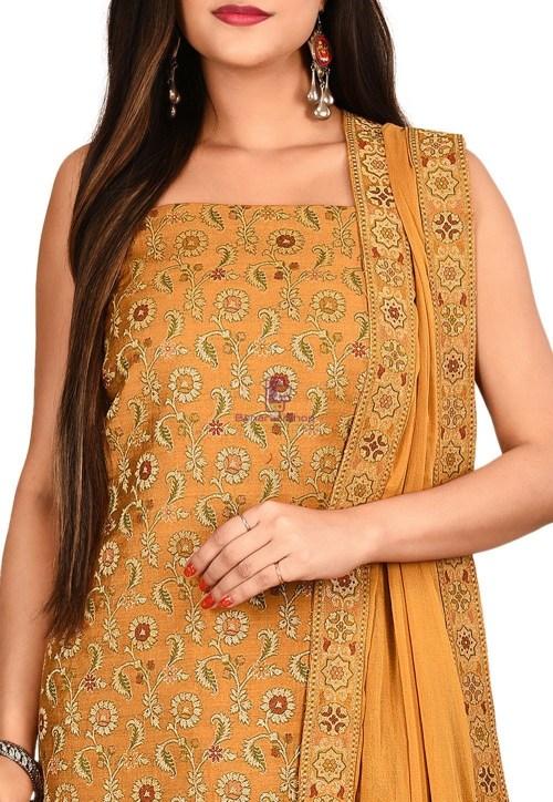 Woven Banarasi Cotton Silk Straight Suit in Mustard 3