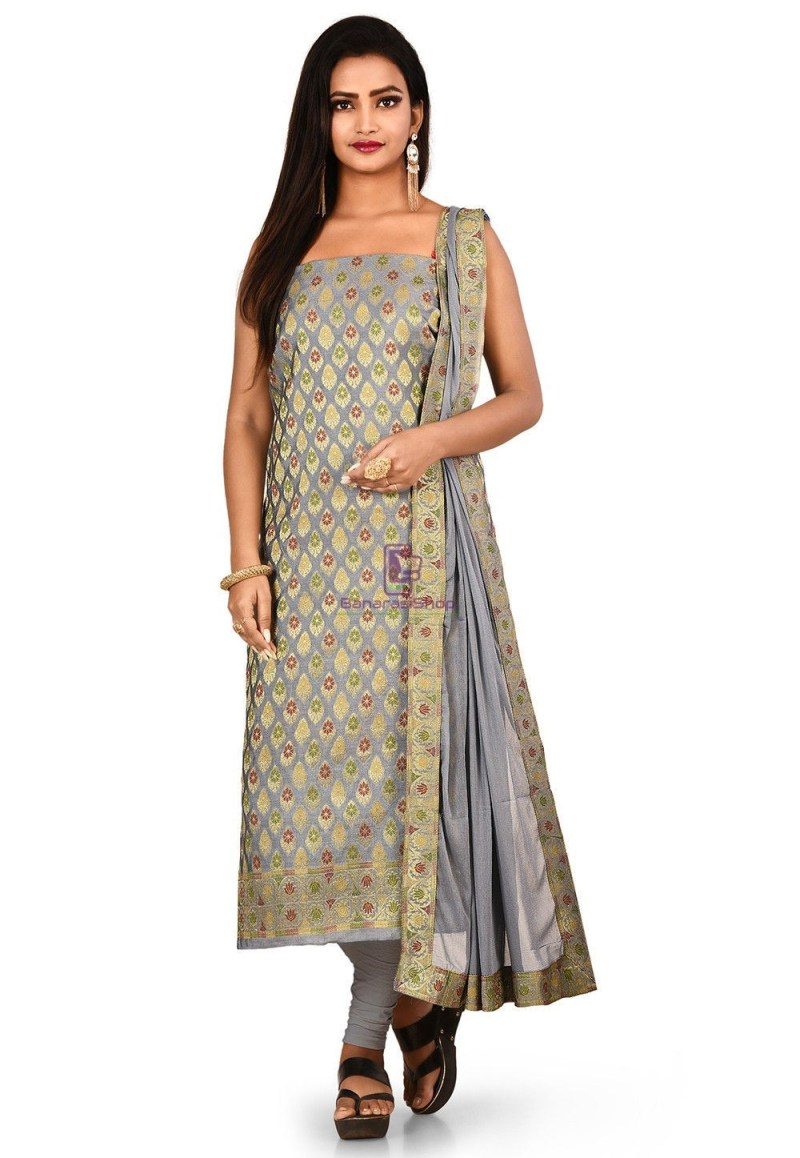 Woven Banarasi Cotton Silk Straight Suit in Grey 1