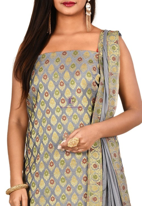 Woven Banarasi Cotton Silk Straight Suit in Grey 3