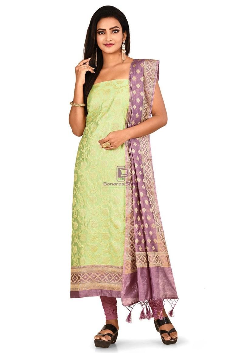 Woven Banarasi Cotton Silk Straight Suit in Light Green 1