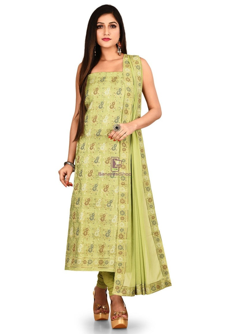 Woven Banarasi Cotton Silk Straight Suit in Light Green 1