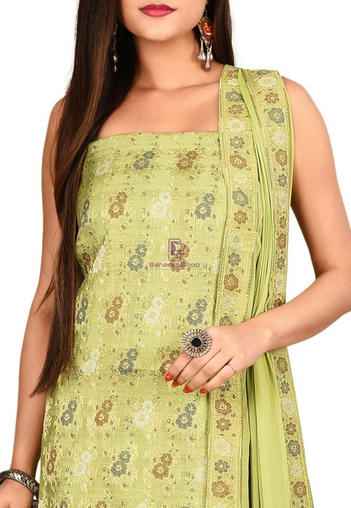 Woven Banarasi Cotton Silk Straight Suit in Light Green 3