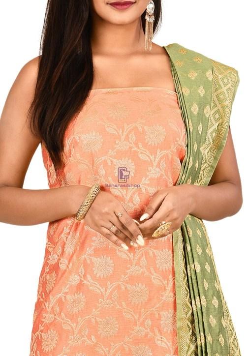 Woven Banarasi Cotton Silk Straight Suit in Peach 3