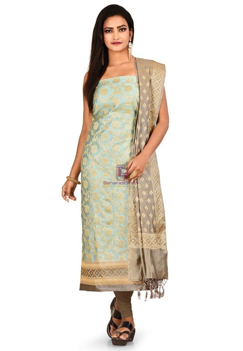 Woven Banarasi Cotton Silk Straight Suit in Sky Blue 1