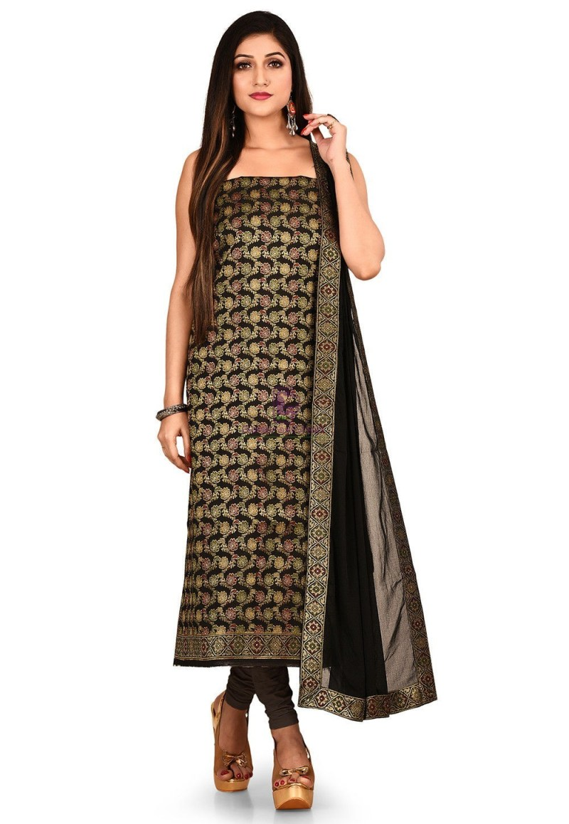 Woven Banarasi Silk Straight Suit in Black 1