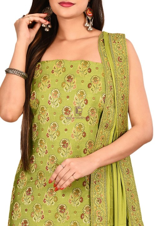 Woven Banarasi Silk Straight Suit in Light Green 3