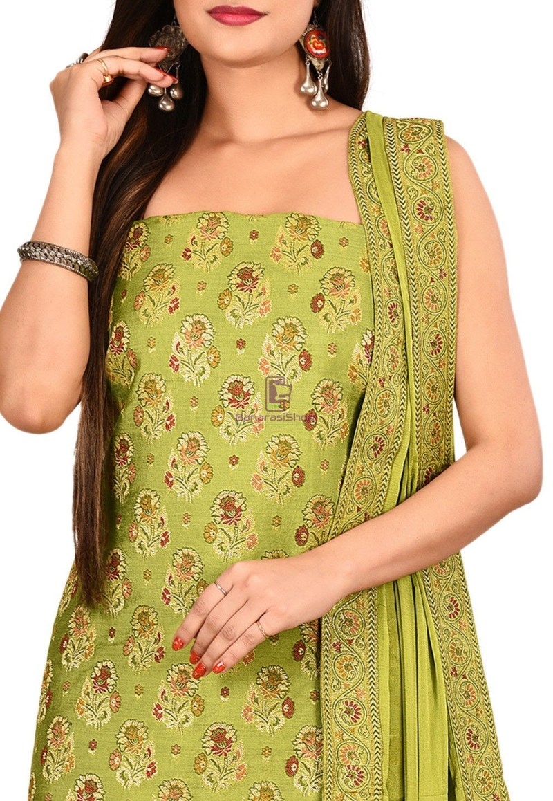 Woven Banarasi Silk Straight Suit in Light Green 2