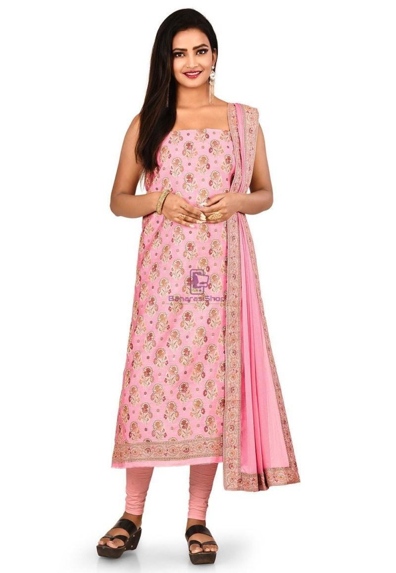 Woven Banarasi Silk Straight Suit in Light Pink 1