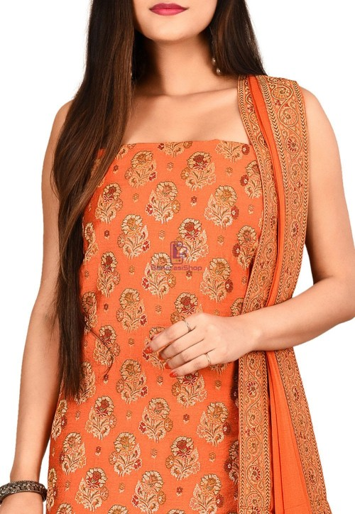 Woven Banarasi Silk Straight Suit in Orange 3