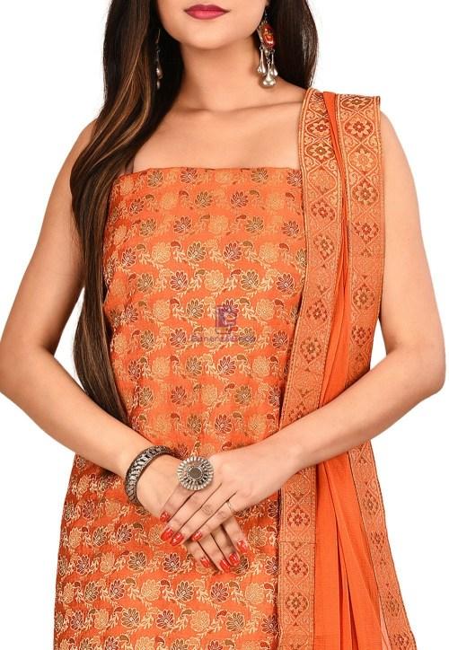 Woven Banarasi Silk Straight Suit in Orange 3